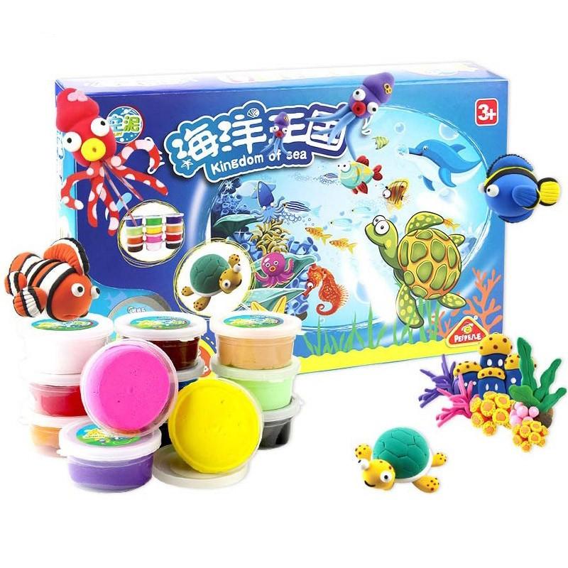 培培乐儿童彩泥无毒橡皮泥模具套装玩具超轻粘土 海洋王国 适合3岁