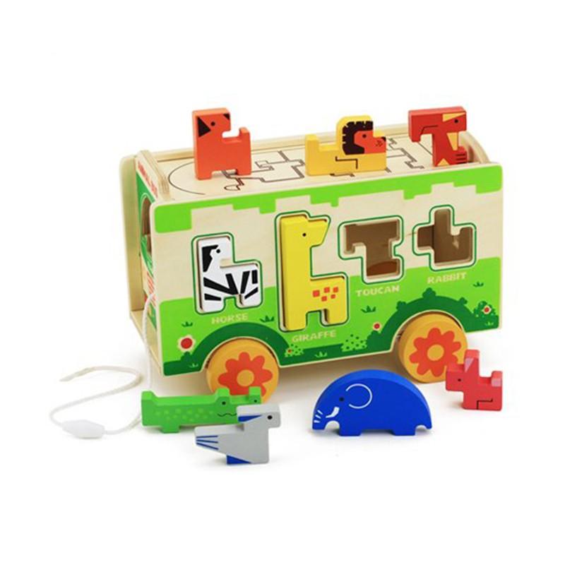 木玩世家 积木拼插玩具 动物巴士
